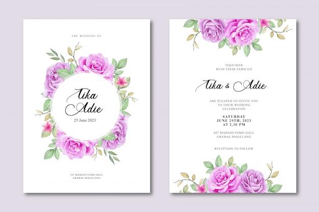 Plantilla de tarjeta de invitación de boda elegante con acuarela floral