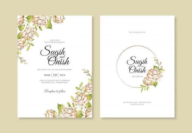 Plantilla de tarjeta de invitación de boda elegante con acuarela de flores