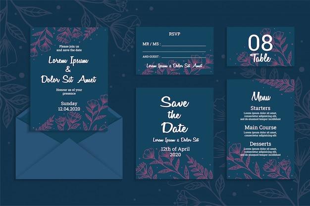 Plantilla de tarjeta de invitación de boda, elegante concepto azul oscuro con flores hermosas dibujadas a mano