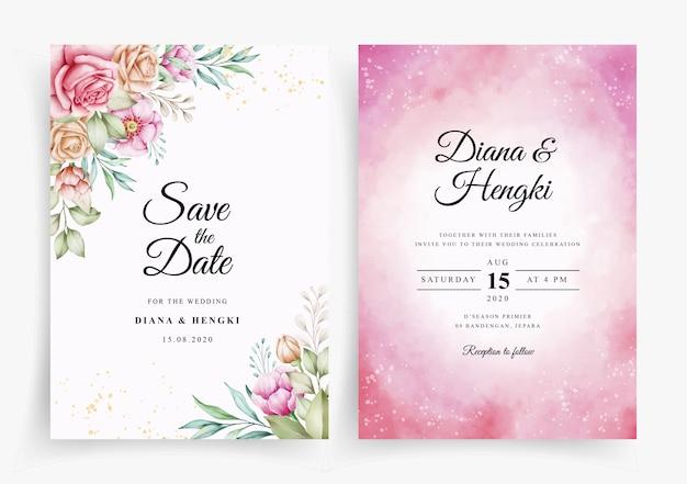 Plantilla de tarjeta de invitación de boda elegante con decoración floral en estilo acuarela