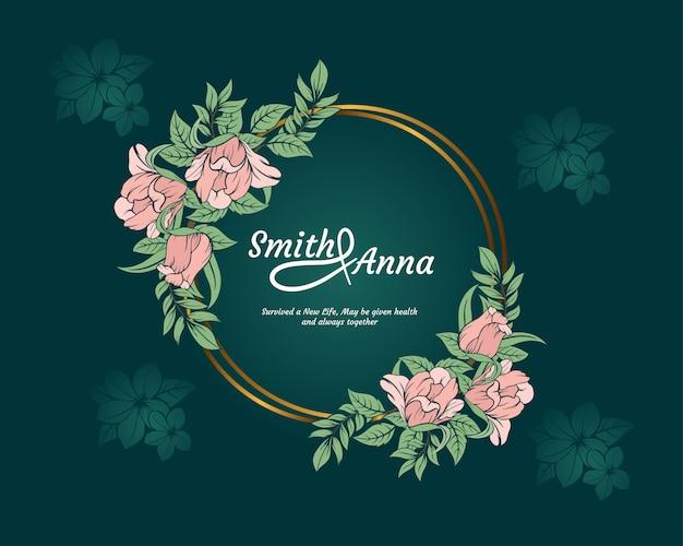 Plantilla de tarjeta de invitación de boda elegante fondo verde con diseño de naturaleza de marco floral