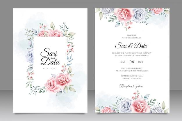 Plantilla de tarjeta de invitación de boda elegante con hermosa acuarela floral