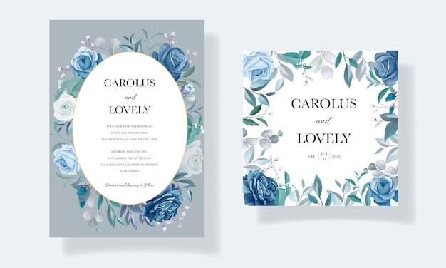Plantilla de tarjeta de invitación de boda elegante con hermoso marco floral azul