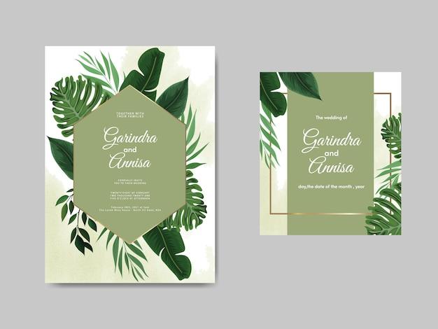 Plantilla de tarjeta de invitación de boda elegante con hojas tropicales