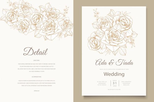 Plantilla de tarjeta de invitación de boda elegante línea de arte