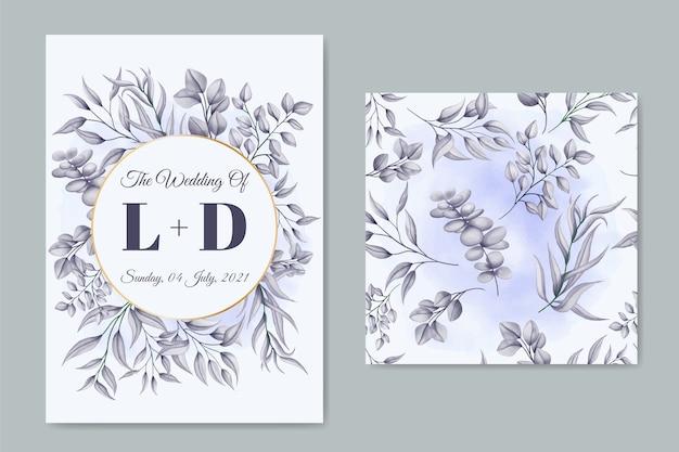 Plantilla de tarjeta de invitación de boda elegante con patrón floral transparente