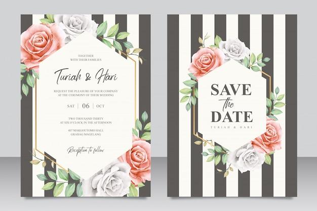 Plantilla de tarjeta de invitación de boda elegante con rayas