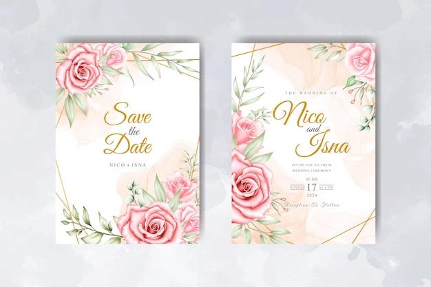Plantilla de tarjeta de invitación de boda elegante suave con flores y hojas de acuarela