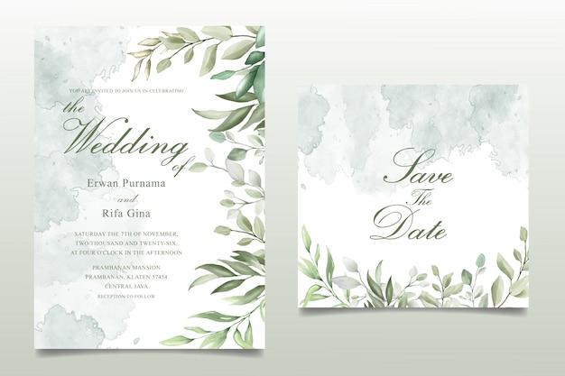 Plantilla de tarjeta de invitación de boda elegante