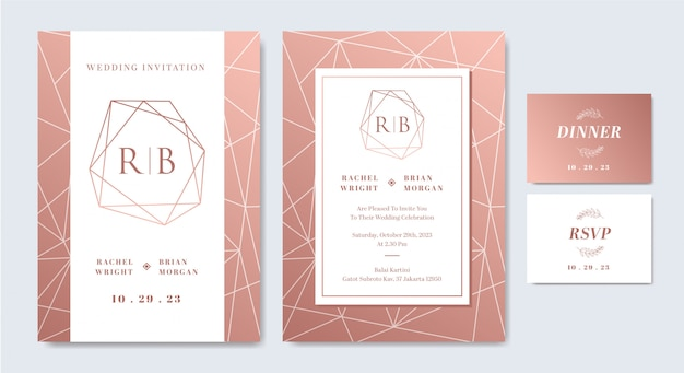 Plantilla de tarjeta de invitación de boda en elegantes colores rosa y blanco