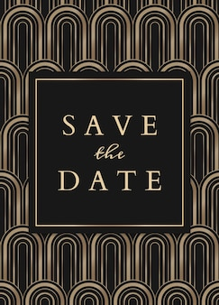 Plantilla de tarjeta de invitación de boda con estilo art deco geométrico sobre fondo oscuro