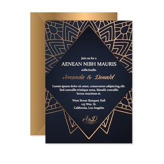 Plantilla de tarjeta de invitación de boda con estilo étnico, diseño oriental