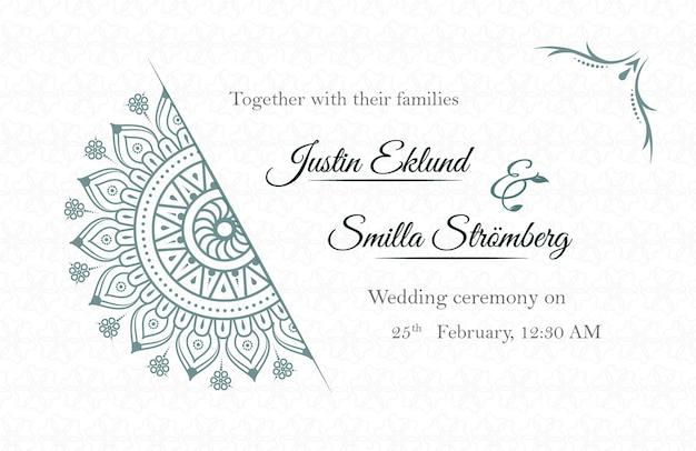 Plantilla de tarjeta de invitación de boda de estilo étnico con mandala