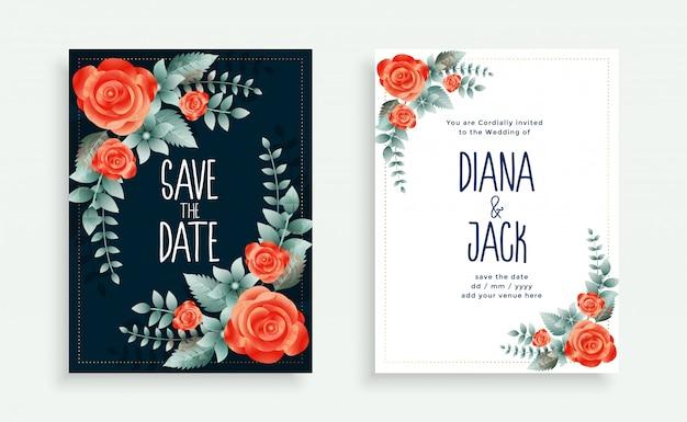 Plantilla de tarjeta de invitación de boda estilo flor