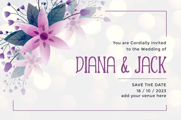 Plantilla de tarjeta de invitación de boda en estilo flor