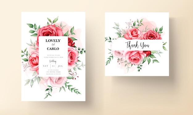 Plantilla de tarjeta de invitación de boda de flor granate romántica
