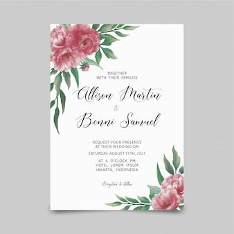Plantilla de tarjeta de invitación de boda con flor de peonía acuarela