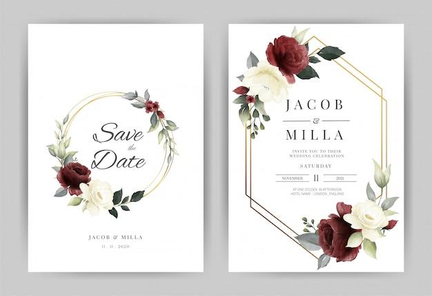 Plantilla de tarjeta de invitación de boda con flor rosa roja y blanca acuarela y marco dorado