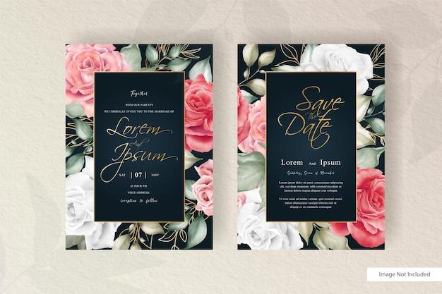 Plantilla de tarjeta de invitación de boda floral acuarela dibujada a mano con elemento de flores y hojas de arreglo minimalista