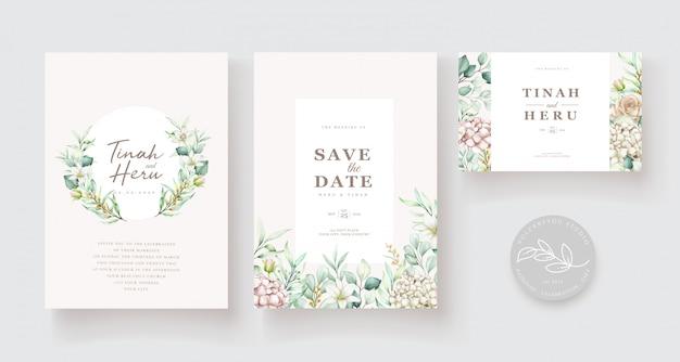 Plantilla de tarjeta de invitación de boda floral acuarela dibujada a mano