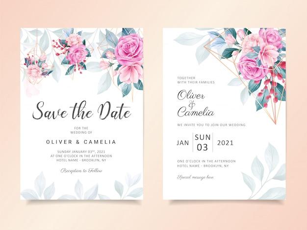 Plantilla de tarjeta de invitación de boda floral acuarela geométrica