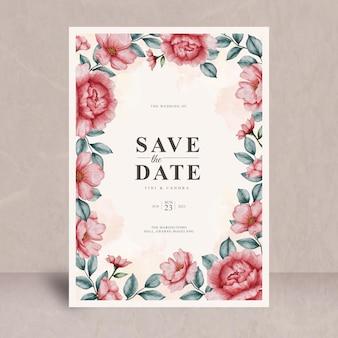 Plantilla de tarjeta de invitación de boda floral acuarela vintage