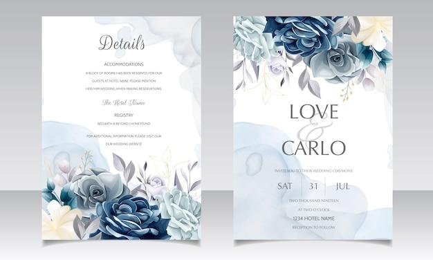 Plantilla de tarjeta de invitación de boda floral azul marino con hojas doradas y acuarela