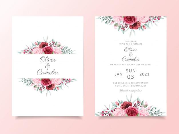 Plantilla de tarjeta de invitación de boda floral con decoración de borde de flores acuarela