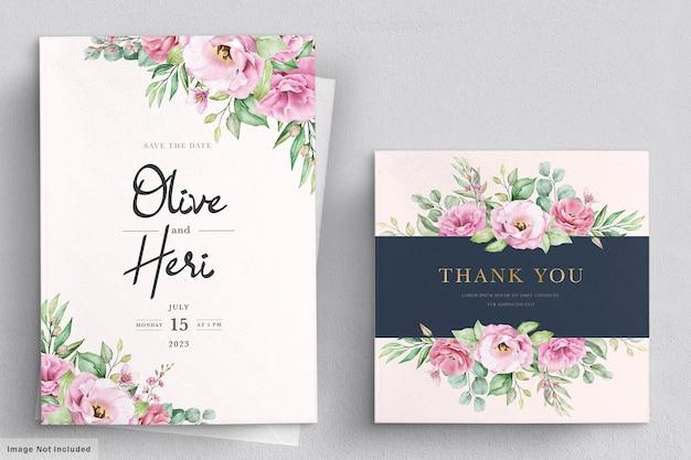Plantilla de tarjeta de invitación de boda floral dibujada a mano acuarela