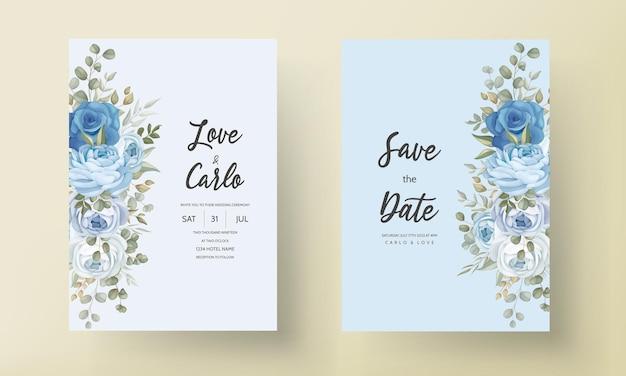 Plantilla de tarjeta de invitación de boda floral dibujada a mano