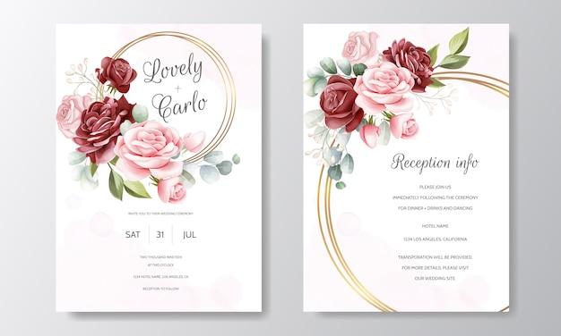 Plantilla de tarjeta de invitación de boda floral dibujado a mano hermosa