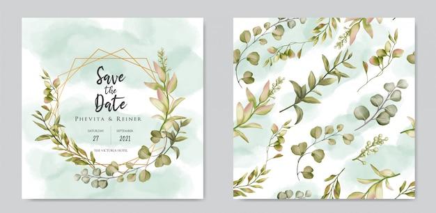 Plantilla de tarjeta de invitación de boda floral dibujado a mano y paquete de patrones sin fisuras