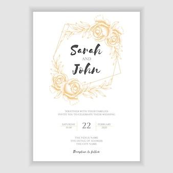 Plantilla de tarjeta de invitación de boda floral dorada