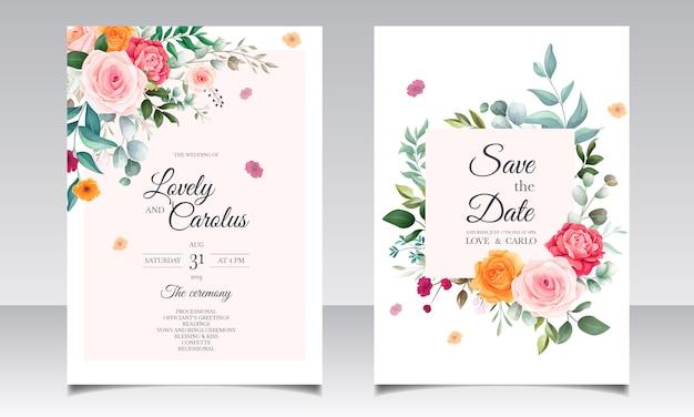 Plantilla de tarjeta de invitación de boda floral elegante