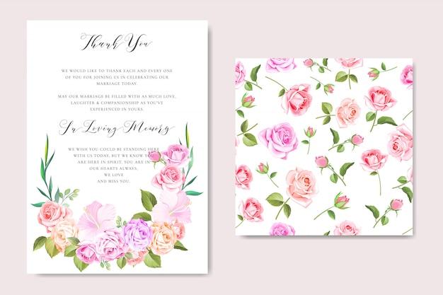 Plantilla de tarjeta de invitación de boda floral con guirnalda floral