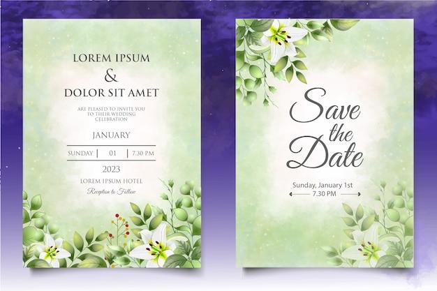 Plantilla de tarjeta de invitación de boda floral hermosa acuarela