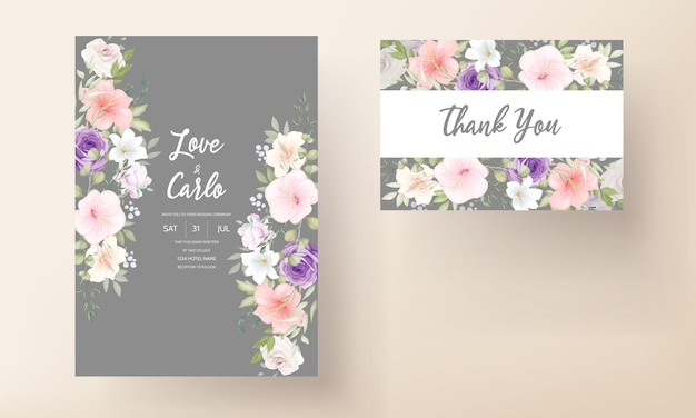 Plantilla de tarjeta de invitación de boda floral hermosa dibujada a mano