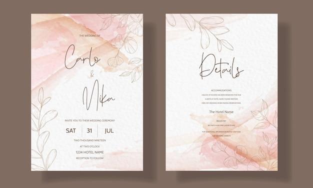 Plantilla de tarjeta de invitación de boda floral hermosa y elegante