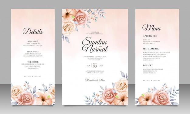 Plantilla de tarjeta de invitación de boda floral hermosa con fondo acuarela
