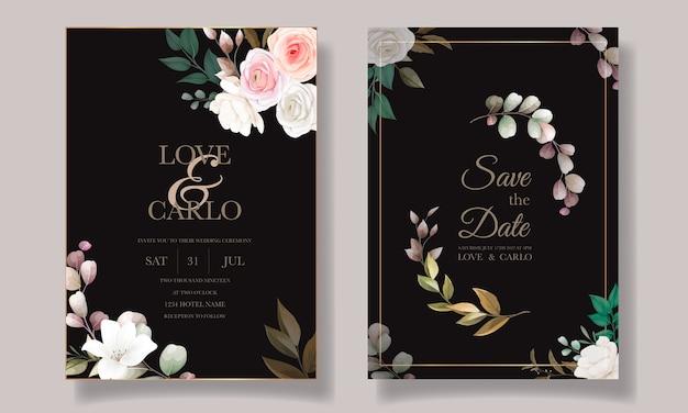 Plantilla de tarjeta de invitación de boda floral hermosa