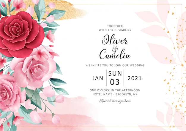 Plantilla de tarjeta de invitación de boda floral horizontal con decoración de acuarela y brillo de oro.