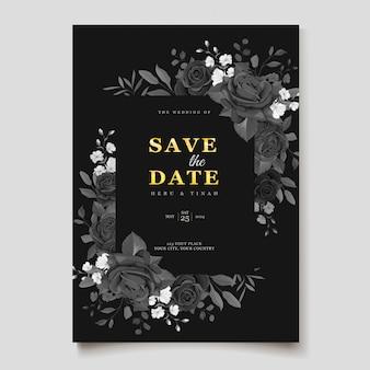 Plantilla de tarjeta de invitación de boda floral negro
