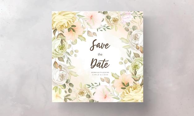 Plantilla de tarjeta de invitación de boda floral otoño otoño cálido