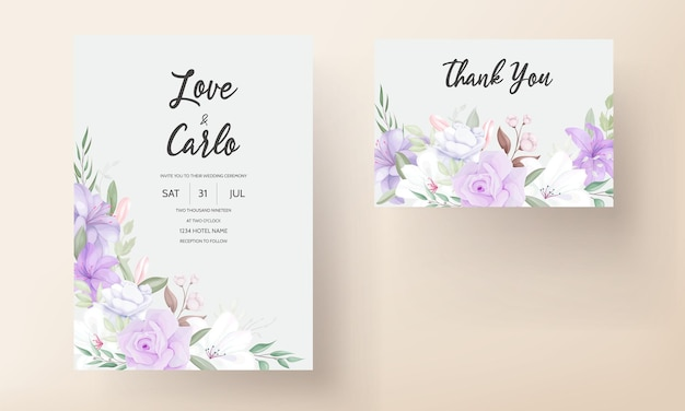 Plantilla de tarjeta de invitación de boda floral púrpura romántica