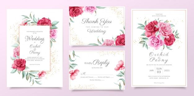 Plantilla de tarjeta de invitación de boda floral con rosas rojas y moradas, hojas y decoración dorada