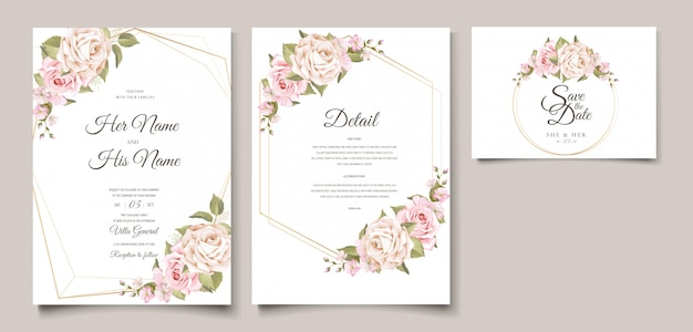 Plantilla de tarjeta de invitación de boda floral suave elegante