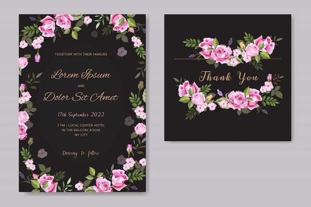 Plantilla de tarjeta de invitación de boda floral de vector