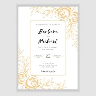 Plantilla de tarjeta de invitación de boda floral vintage