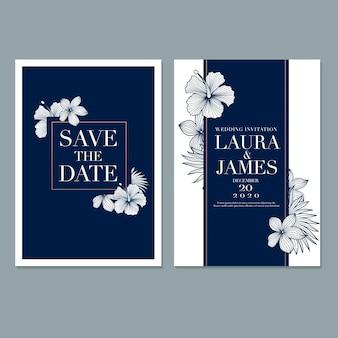 Plantilla de tarjeta de invitación de boda floral