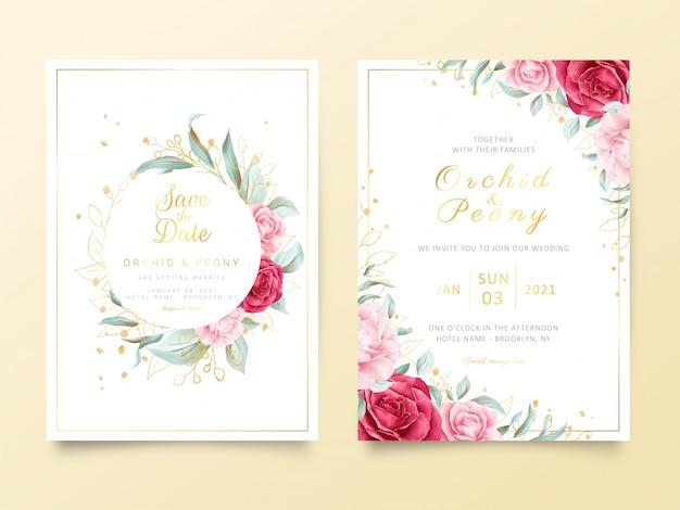 Plantilla de tarjeta de invitación de boda con flores de acuarela y decoración de brillo dorado